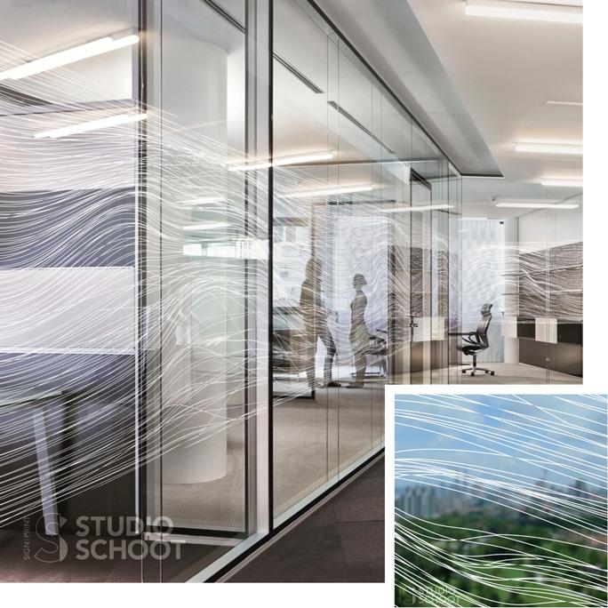 Glasfolie op glazen wand 2